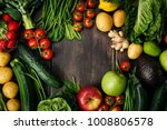 from above raw fresh vegetables ...   Shutterstock . vector #1008806578