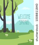welcome spring. background with ... | Shutterstock .eps vector #1008811840