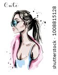 hand drawn beautiful young... | Shutterstock .eps vector #1008815128