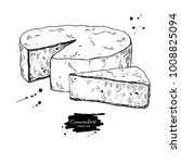 camembert cheese block and... | Shutterstock .eps vector #1008825094