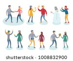 people in winter clothes vector ... | Shutterstock .eps vector #1008832900