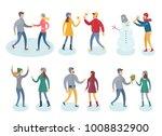 people in winter clothes vector ... | Shutterstock .eps vector #1008832900