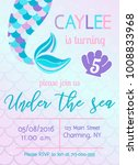 mermaid birthday invitation.... | Shutterstock .eps vector #1008833968