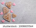 gingerbread hearts decorated... | Shutterstock . vector #1008835564
