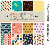 12 patterns set in cute... | Shutterstock .eps vector #1008837493