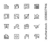 line icon set of architect...