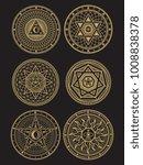 golden occult  mystic ... | Shutterstock .eps vector #1008838378