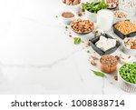 Stock photo healthy diet vegan food veggie protein sources tofu vegan milk beans lentils nuts soy milk 1008838714