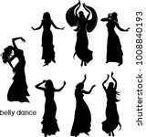 Set Of Silhouettes Of Dancers...