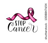 world cancer day. pink ribbon....   Shutterstock .eps vector #1008847654
