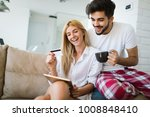 couple shopping online using... | Shutterstock . vector #1008848410