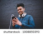 smiling bearded hipster guy... | Shutterstock . vector #1008850393