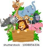 cartoon wild animal with blank...   Shutterstock .eps vector #1008856336