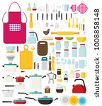 kitchen utensils set flat... | Shutterstock .eps vector #1008858148