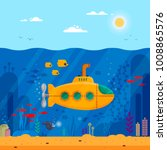 yellow submarine with periscope ... | Shutterstock .eps vector #1008865576