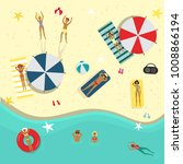vector flat beach party poster  ... | Shutterstock .eps vector #1008866194