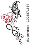 heart with lettering  butterfly ...   Shutterstock .eps vector #1008871954