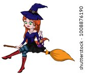 cute redheaded witch flying on... | Shutterstock .eps vector #1008876190