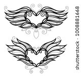 large hearts with wings and...   Shutterstock .eps vector #1008881668