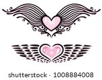 vector set of hearts with wings.   Shutterstock .eps vector #1008884008