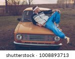 guy in the nineties lies on the ... | Shutterstock . vector #1008893713