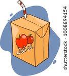 freehand drawn cartoon juice box | Shutterstock .eps vector #1008894154