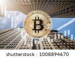 bitcoin physical coin symbol...   Shutterstock . vector #1008894670