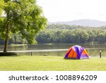tourist dome tent camping at... | Shutterstock . vector #1008896209