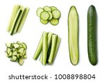 fresh whole and sliced cucumber ... | Shutterstock . vector #1008898804
