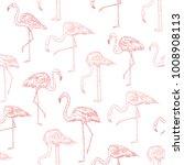 flamingos sketch style vector... | Shutterstock .eps vector #1008908113