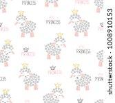 Seamless Sheep Princess Pattern....