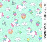 cute pastel unicorn  dessert ... | Shutterstock .eps vector #1008913849