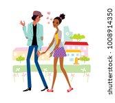 girl falling in love and boy... | Shutterstock .eps vector #1008914350