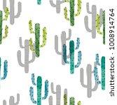 seamless watercolor cactus... | Shutterstock .eps vector #1008914764