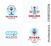 a set of radio vector emblems.... | Shutterstock .eps vector #1008920206