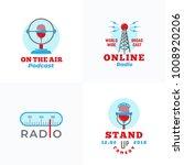 a set of radio vector emblems.... | Shutterstock .eps vector #1008920206