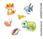 watercolor set of little cute...   Shutterstock . vector #1008924148
