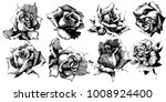 wild flowers roses isolated.... | Shutterstock .eps vector #1008924400