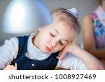 the portrait of little blonde... | Shutterstock . vector #1008927469