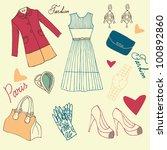 street style  paris fashion... | Shutterstock .eps vector #100892860