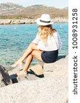 beautiful blond woman looking... | Shutterstock . vector #1008931258
