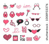 Set of pink and black Valentines icons isolated on white background, illustration.