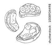 set of bruschettas with ham ... | Shutterstock .eps vector #1008934498