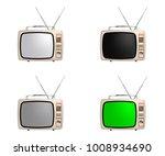 retro portable tv set with... | Shutterstock .eps vector #1008934690