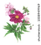 Stock photo bouquet of flowers peony and anemones and leaves watercolor painting 1008949969