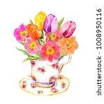 spring tulip flowers in vintage ... | Shutterstock . vector #1008950116