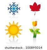Four Season Elements Over Whit...