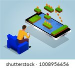 video game screen and gamer... | Shutterstock .eps vector #1008956656