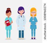 set of three female doctor and... | Shutterstock .eps vector #1008960274