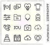 valentine's day line icons set... | Shutterstock .eps vector #1008960499